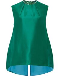 Monique Lhuillier Silk Gazar Shell - Green