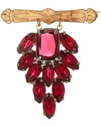 Lulu Frost One-of-a-kind Vintage Ruby Glass Brooch - Red