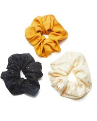 8 Other Reasons Set-of-three Bree Studded Crepe Scrunchies - Yellow