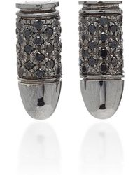 Akillis Mini Bang Clip 18k Gold Diamond Earrings - Black