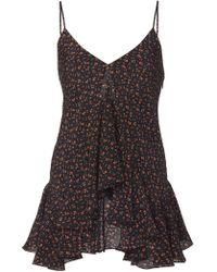 Michael Kors Floral Ruffle Silk Handkerchief Camisole - Black