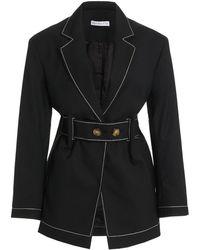 Rejina Pyo Esme Belted Wool-blend Blazer - Black