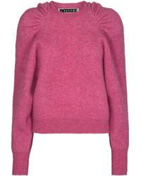 ROTATE BIRGER CHRISTENSEN Brinna Puff Sleeve Knit Sweater - Pink