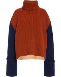 Victoria, Victoria Beckham Oversized Colorblock Wool Jumper - Orange
