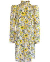 Alix Of Bohemia Laura Sunflower-printed Cotton Mini Shirt Dress - Multicolour