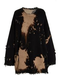 R13 Oversized Distressed Bleached Cotton Jumper - Black