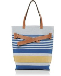 Loewe - Canvas And Leather Striped Tote Bag - Lyst 760b8ca880758