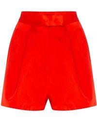 Alex Perry Caden Duchess Silk Satin Shorts - Red