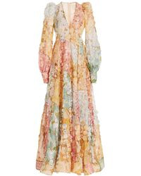 Zimmermann Tempo Disc-embellished Floral Linen-silk Gown - Multicolour