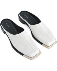 Peter Do Embossed Leather Silver-tone Mules - White