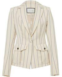 Alexis Enos Striped Blazer - White