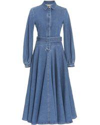 Emilia Wickstead Jewel Puffed Sleeve Denim Dress - Blue