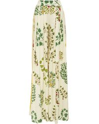 Oscar de la Renta Printed Sllk-crepe Wide-leg Pants - White