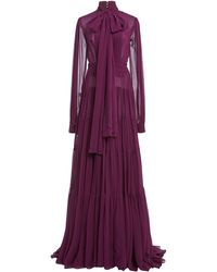 Costarellos Isabelle Pleated Silk Chiffon Tiered Tie-neck Gown - Purple