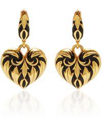 Oscar de la Renta Gold-tone And Enamel Earrings - Black