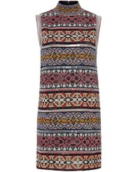 Missoni Sleeveless Mini Patchwork Stripes Short Dress - Multicolor