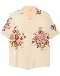 Bode Needlepoint Embroidered Shirt - Natural