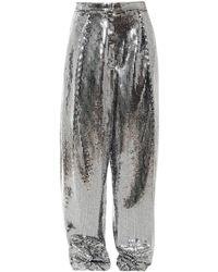 ANOUKI Wide Leg Disco Pants - Metallic