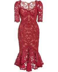 Marchesa Lace Midi Dress - Red