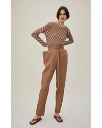 Bassike Belted Linen Straight-leg Pants - Brown