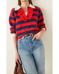 Philosophy Di Lorenzo Serafini Ruffled Striped Wool-cashmere Jumper - Multicolour