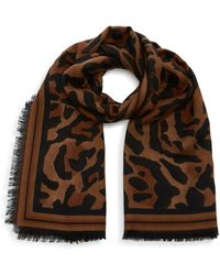 Givenchy Fringed Printed Silk Scarf - Brown