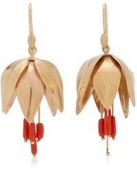 Annette Ferdinandsen Crown Imperial 14k Yellow Gold Coral Earrings - Metallic