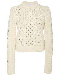 Michael Kors Embellished Cable-knit Cashmere Jumper - White