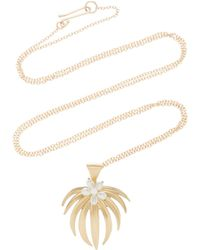 Annette Ferdinandsen - Curled Fan Palm 14k Gold And Pearl Pendant Necklace - Lyst