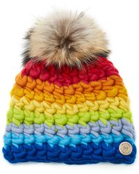 Mischa Lampert Exclusive Fur-topped Striped Wool Beanie - Multicolour