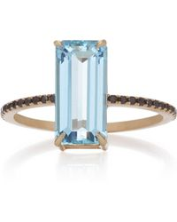Yi Collection - 18k Gold, Aquamarine And Black Diamond Ring - Lyst