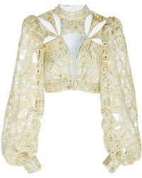Acler Meredith Cropped Cutout Lace Top - Multicolour