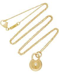 Monica Rich Kosann - 18k Gold Diamond Round Lock Charm Necklace - Lyst