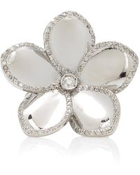 Sheryl Lowe Plumeria Sterling Silver Diamond Ring - Metallic