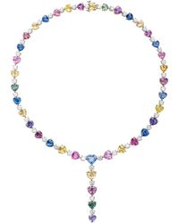 Bayco - 18k Yellow Gold Platinum Sapphire And Diamond Necklace - Lyst