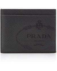 Prada - Logo-printed Saffinao Leather Card Case - Lyst