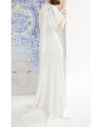 Carolina Herrera Bridal Iris Bow-detailed Crepe Halterneck Gown - White