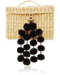 Nannacay Baby Roge Pom Pom-embellished Woven Raffia Tote - Black