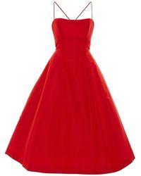 Elizabeth Kennedy Tie Up Detail Tea Length Cocktail Dress - Red