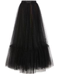 Marchesa Embroidered Tulle Midi Skirt - Black