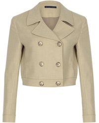 Zeynep Arcay Cropped Wool-blend Biker Jacket - White