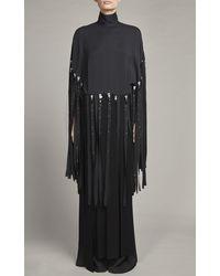 Elie Saab Embellished Fringe-detailed Crepe Top - Black