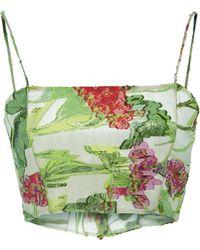 Christian Siriano - Iridescent Garden Floral Organza Bustier - Lyst