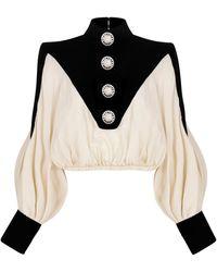 RAISA & VANESSA Velvet-paneled Silk Top - Black