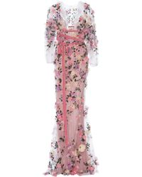 Marchesa - Embroidered Sheer Gown - Lyst