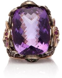 Sanjay Kasliwal - 14k Gold, Silver, Amethyst And Diamond Ring - Lyst