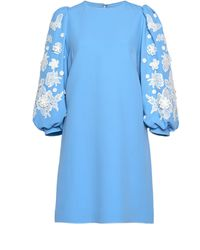 Andrew Gn Embroidered Sleeve Crepe Mini Dress - Blue