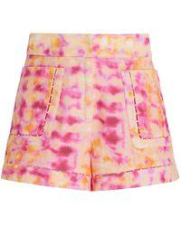 Alexis Mielle Tie-dye Linen Shorts - Pink