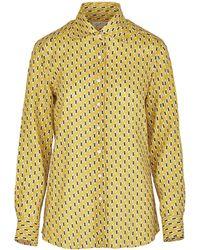 Giuliva Heritage Collection The Elvira Shirt Printed Linen - Yellow