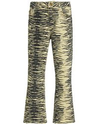 Ganni Printed Mid-rise Flared Jeans - Yellow